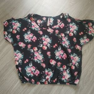 Floral blouse with peek-a-boo shoulders
